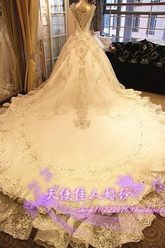 2014 new Korean wedding dress bridal luxury crystal diamond wedding palace Bra shoulder trailing winter white - Taobao