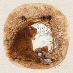 강원도의 겨울은 참 추워서... 느려지고..움츠려들고..서로의 온기를 찾아 꼭 붙어있고... 마치 겨울잠을 자는 곰같이 되었지요. 잠자는 걸 좋아하는 나는 그런 겨울이 좋았어요. 시간이 멎은듯한 긴긴 겨울..열심히 자고나면.. 이른 봄, 싹이 틀 때 즈음엔 내 키가 흘쩍 커 있곤 했답니다.