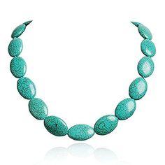 Jane Stone Egg Shape Turquoise Necklace Choker Bib Jewelry, http://www.amazon.com/dp/B00L8H7PRA/ref=cm_sw_r_pi_awdm_x_-ZzVxbG1AFK8J