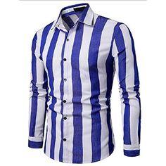 Contrast Vertical Stripe Print Button Up Shirt - Blue - 4304331012 - Men's Clothing, Men's Tops & T-Shirts, Men's Shirts # # Mens Clothing Styles, Men's Clothing, Ethnic Print, Button Up Shirts, Men's Shirts, Stripe Print, Printed Shirts, Long Sleeve Shirts, Contrast
