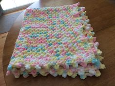 Yellow, Pink, White, Blue; Bulky Yarn with Picot Edge Crochet Baby Blanket