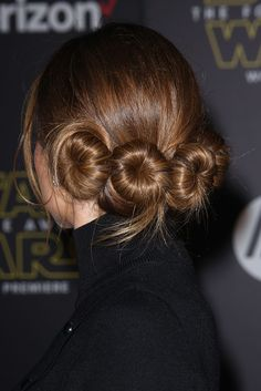 Very into Maria Menounos' Princess Leia baby buns at the premiere of Star Wars: The Force Awakens. Click for a quick trick on how to master this updo.