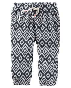 She's wild about these ikat print pull-on pants! Cut in a breezy fit with lots of wiggle room complete with an elastic banded waistline and cuffs.