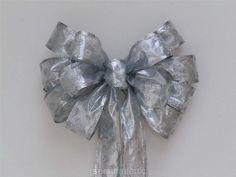 Set of 10- Silver Wedding Bow Silver Polka Dots Party by greentraderllc, $80.00