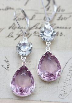 Light Purple Amethyst Clear Crystal Glass Earrings Silver Bridesmaids Earrings Bridal Party Wedding Jewelry