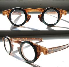 Vintage Odd Eccentric Round Green Tortoise Eyeglass Frames by Les Halles France  Item condition:--  Price:US $425.00
