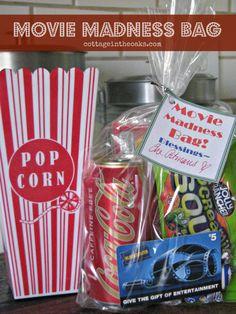 How to put together a Movie Madness Bag ::: Great Gift Ideas for Christmas ::: Gift Ideas for Teachers ::: Great Hostess gifts ::: Great Neighbor gifts ::: Great birthday gifts ! Simple Gifts, Easy Gifts, Creative Gifts, Homemade Gifts, Cute Gifts, Food Gifts, Craft Gifts, Holiday Gifts, Christmas Gifts