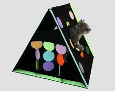 Cat house from felt  Kitten toy Felt cat bed Cat lover gift Cat tent