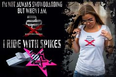 Women's Spike Pads and Clothing! Different styles and colors for Introducing the SPIKE PAD, a new generation of the stomp pad by X22 Snowboarding! The SPIKE PAD is made from lightweight aerospace aluminum alloy and silver coated stainless steel. Designed and made by a snowboarder for snowboarders. Five styles in different colors to match your snowboard. Break the ice with metal spikes