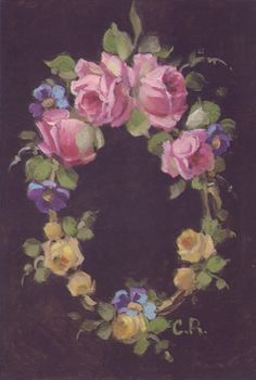 Christie Repasy French Wreath Original Canvas Print, featuring a rose garland, this canvas print is an original painting by Christie Repasy. China Painting, Tole Painting, Victorian Flowers, Vintage Flowers, Rose Garland, Romantic Roses, Flower Art, Original Paintings, Canvas Prints