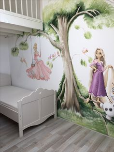 Disney Princess Room, Wall Painting Decor, Disney Rooms, Kids Bedroom Designs, Photo Mural, Disney Home Decor, Wall Drawing, Nursery Wallpaper, Painted Doors