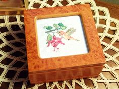 Wood Jewelry Trinket Box with Cross Stitched by LakesideHaven, $12.00