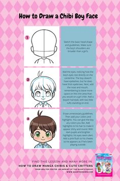 How to Draw Manga Chibis & Cute Critters Chibi Boy, Cute Chibi, Walter Foster, Glossy Eyes, Drawing Exercises, Face Sketch, Boy Face, Chibi Characters, Head Shapes