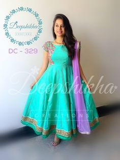 Stunning sea green color floor length dress with lavender color net dupatta. Floor length dress with floral design hand embroidery thread work on yoke. For queries kindly whatsapp on Churidar Designs, Kurti Neck Designs, Dress Neck Designs, Long Gown Dress, Saree Dress, Indian Gowns Dresses, Indian Outfits, Designer Anarkali Dresses, Designer Dresses