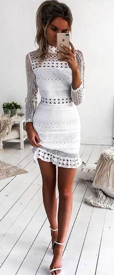 #fall #outfits  women's white dress