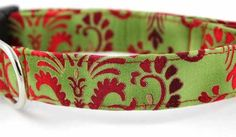 Bow Wow Couture Dog Collar in Christmas Damask available at www.ZoePetSupply.com