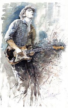 Jazz Rock John Mayer 05 by Yuriy Shevchuk ~ watercolor