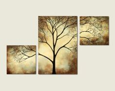 Abstract Triptych Painting Birds in Tree Branch by LauraSueArt