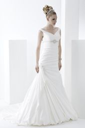 Pallas Athena wedding dress/gown- white mermaid style wedding dress with bust broach, v-neckline and hip-gathered skirt. For the Bride Boutique Ft. Myers, Florida