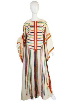 1960s Josefa Mexico Rainbow Ribbon Caftan