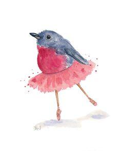 Ballerina Bird Watercolor Original Ballet by WaterInMyPaint, $50.00
