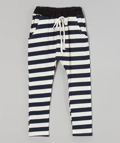 Love this Leighton Alexander Navy Stripe Jogger Pants - Toddler & Kids by Leighton Alexander on #zulily! #zulilyfinds
