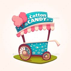 Vector Flat Illustration Of Cotton Candy Cart