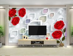 Custom flowers wallpaper fashion rose simple mural for the living room bedroom TV background wall 12 Wallpaper for TV Wall Units That Will Make a Statement Tv Wall Decor, Wall Stickers Home Decor, Red Bedroom Design, Tv Feature Wall, Single Floor House Design, Wall Waterproofing, Modern Tv Wall Units, Tv Wall Design, Tv In Bedroom