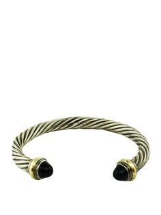 David Yurman Sterling Silver Cable Classics 7mm Bracelet with Onyx and Gold