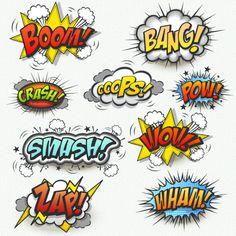 Comics Onomatopeyas tipo bocadillo de comic - Comics And Cartoons Web Comic, Comic Text, Lego Batman Party, Superhero Party, Magic Design, Archie Comics, Mask Party, Elements Of Art, Art Plastique