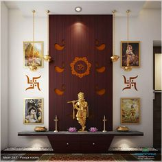 10 simple ideas for beautiful pooja rooms in Indian homes Temple Room, Home Temple, Mandir Design, Pooja Mandir, Pooja Room Door Design, Temple Design, Puja Room, Indian Homes, Prayer Room