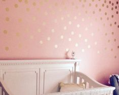 Fabulous Gold Wall Decals Polka Dots Wand Dekor schwarz Konfetti