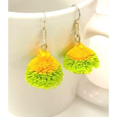 Quilled green and yellow jhumka