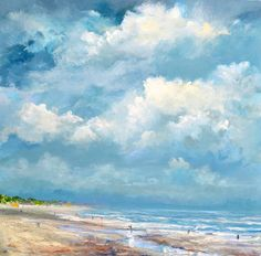 1 July 2016. Between the rain showers, the sun shines over the North Sea on the Vrouwenpolder Beach in Zeeland. What a great cloudy skies!  the painting is painted on a 3D canvas cloth, so a frame is not necessary. Ready to hang!  Painted with acrylic heavily textured and smooth style.  The painting will be carefully packed and shipped in a hard box.  In the package is a set of art cards as gift  Materials used:  acrylic on 3D-canvas