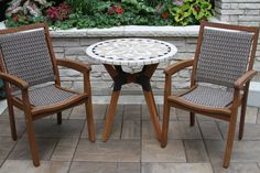 """30"""" Marble Mosaic Eucalyptus & Metal Bistro Table with Wicker & Eucalyptus Stacking Arm Chairs"""