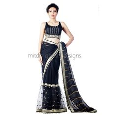Net Lahenga Saree with Gold Embellished Blouse