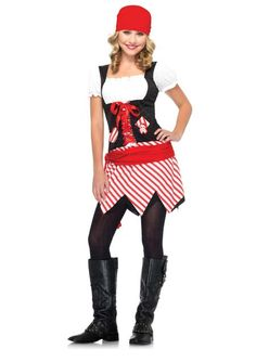 #J48035 Set sail for an adventure this Halloween as this sassy and cute pirate. 2PC.Pirate Cutie includes dress w/attached waist sash and head scarf. Size: Teen SM