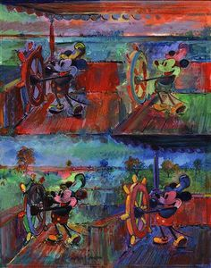 """Four Steamboat Mickeys"" By Harrison Ellenshaw - Original Mixed Media on Canvas, 14 x 11.  #Disney #DisneyFineArt #MickeyMouse #HarrisonEllenshaw"