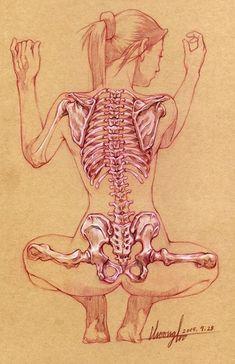 Crouch Gesture - Skeletal Écorché Study -