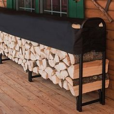 We've got your firewood storage needs covered! Our racks with covers are available in 3 sizes and are adjustable to fit split wood up to 24 in length. Firewood Rack, Firewood Storage, Space Saving Storage, Create Space, Outdoor Areas, Improve Yourself, Home And Garden, Cover, Fit