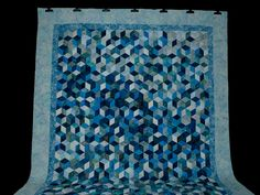 Tumbling Blocks Quilt -- wonderful made with care Amish Quilts from Lancaster (hs7343)