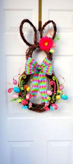 Bright and Fun Easter Bunny Grapevine Wreath