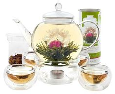 Teabloom Complete Tea Set - Stovetop Safe Glass Teapot with 12 Flowering Teas, Tea Warmer, 4 Double Wall Teacups & Removable Glass Infuser for Loose Leaf Tea - Celebration Flowering Tea Gift Set Tea Gift Sets, Tea Gifts, Tea Set, Loose Tea Infuser, Tea Warmer, Estilo Interior, Safe Glass, Clear Glass, Perfect Cup Of Tea