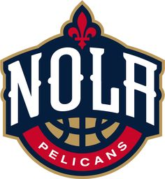 New Orleans Pelicans Secondary Logo (2014) - NOLA in white above a basketball and below a fleur-de-lis