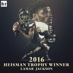 Lamar Jackson is your 2016 Heisman Trophy winner! Nfl Football, American Football, College Football, Lamar Jackson Ravens, Heisman Trophy, University Of Louisville, Louisville Cardinals, Sport Icon, Baltimore Ravens