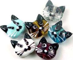 Lampwork Glass Mutil-Color Cat Head Beads II 22mm (6)