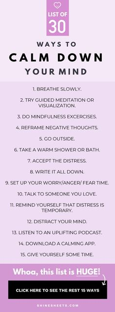 30 Ways To Calm Down Your Mind Feel panicky? Need really good ideas to take care of your stress! These are some awesome tips to help you breathe and get through the anxiety you may be feeling 30 ways to calm down your mind Anxiety Relief, Stress And Anxiety, Health Anxiety, Anxiety Tips, Calm Down Anxiety, Ways To Calm Anxiety, Anxiety Thoughts, Anxiety Therapy, Anxiety Help