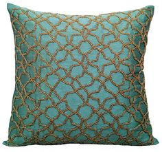 Teal Accent Pillows, Geometric Pillow, Silk Pillows Covers For Couch, Square Gold Beaded Embroidery Pillows Cover – Teal Geometry – yellow accent pillow Blue Throws, Blue Throw Pillows, Toss Pillows, Accent Pillows, Sofa Cushion Covers, Cushions On Sofa, Throw Pillow Covers, Duvet Covers, Bedroom Cushions