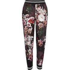 Black floral print joggers $44.00