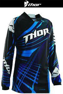 Thor Womens Phase Flora Black Blue Dirt Bike Jersey Motocross MX ATV 2014 | eBay